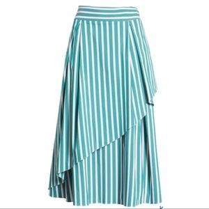 Halogen Atlantic-Pacific Stripe Asymmetrical Skirt